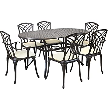 Charles Bentley Metal Cast Aluminium 7 Piece Stamford Garden Furniture Patio Set With Cushions
