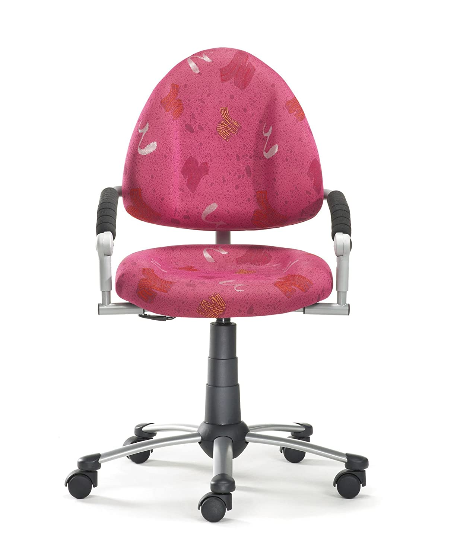 Mayer Sitzmöbel Kinder-Drehstuhl FREAKY mitwachsender Kinder- u. Jugend- Drehstuhl 4-18 Jahren Gestell perlsilber mit Armlehnen Rollen/Teppich Bezug 26060