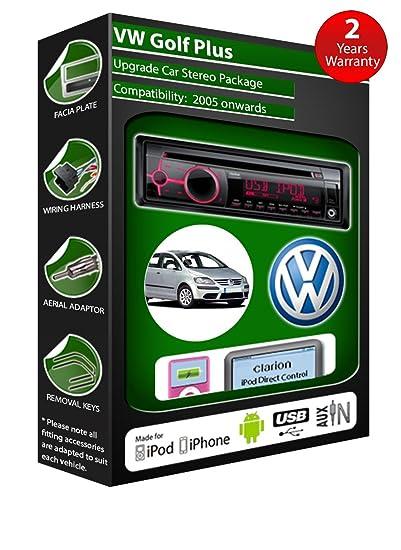 Volkswagen Golf Plus Lecteur de CD et stéréo de voiture radio Clarion jeu USB pour iPod/iPhone/Android