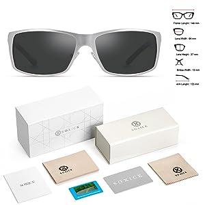 30c449ee67 Polarized Wayfarer Sunglasses For Men - Metal Frame UV 400 Anti Glare  Glasses (Color  Sliver B)