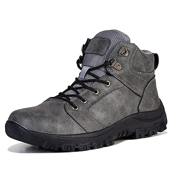 Mens Shoes Winter Warm Snow Boots Leather Outdoor Hiking Trekking Shoes Lace up Waterproof Non Slip Antiskid
