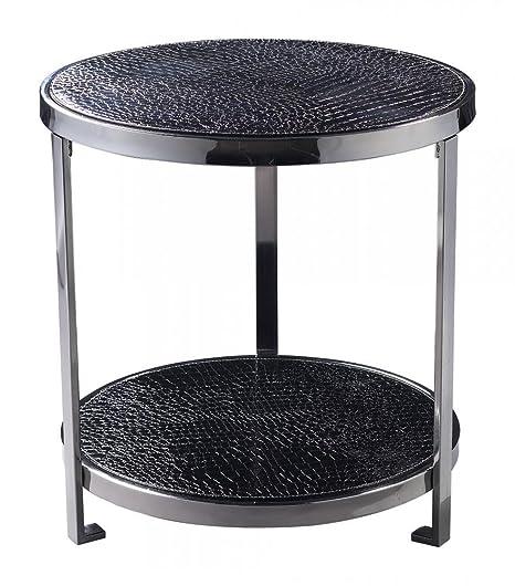 Black Faux Croc 20In. Width Coffee Table