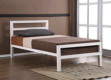 City Block 3ft Single White Modern Metal Bed Frame with Deluxe Coil Sprung Mattress