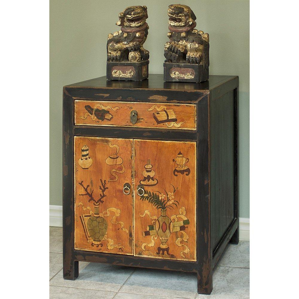 Hand Crafted Vintage Vase and Floral motif Tibetan Cabinet 0