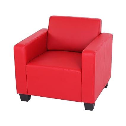 Sessel Loungesessel Lyon, Kunstleder ~ rot