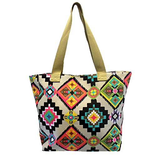 Luxury Divas Aztec Printed Ivory Colorful Canvas Beach Tote Bag