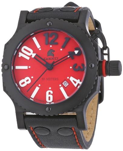 Carucci Watches CA2210RD-BK - Reloj de pulsera unisex, piel, color negro