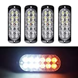 XT AUTO Super Bright Amber White 12-LED Car Truck Warning Caution Emergency Construction Waterproof Beacon Flash Caution Strobe Light Bar 4-pack (Color: Amber White)