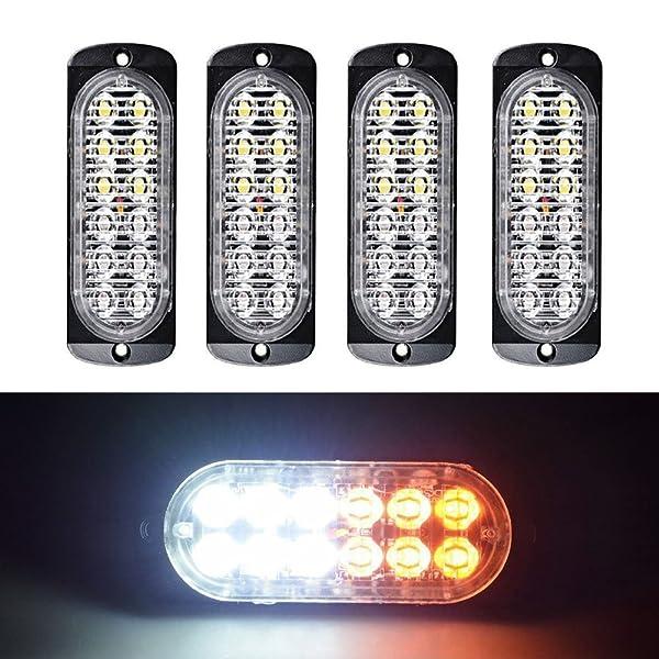 10X White Amber 4 LED Waterproof Car Truck Emergency Strobe Flash Warning Light