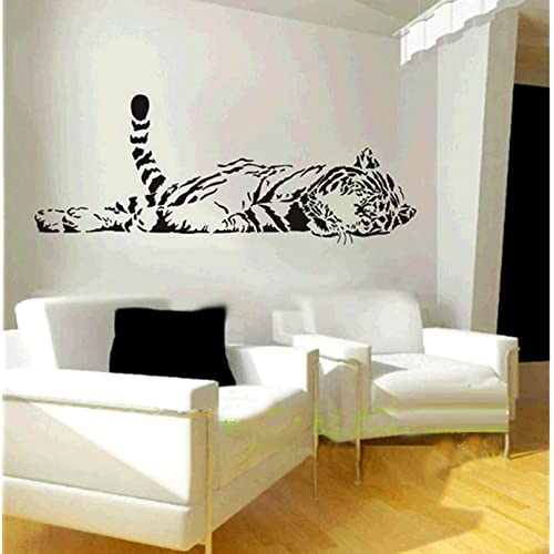 Animal Wild Zoo Lying Tail up Tiger Wall Decal Sticker Living Room Stickers Black Color Vinyl Removable