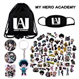 KINON My Hero Academia Gift Sets - 1 Drawstring Bag, 73 Cartoon Laptop Stickers, 1 Face Mask, 2 Button Pins, 1 Phone Ring Holder, 1 Keychain (Color: Black)