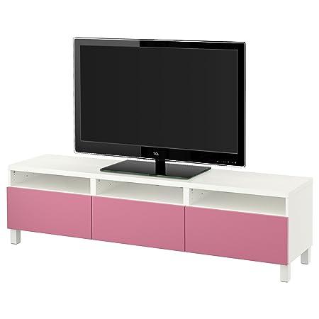 IKEA BESTA - Banc TV avec tiroirs blanc / rose lappviken