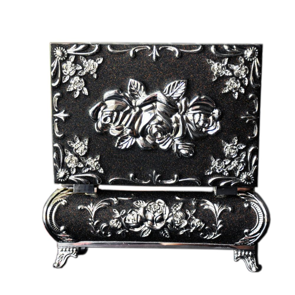 W&S® Alloy Dull Polish Surface Copper Flowers Decorated Jewelry Box Jewelry Chest (Gothic Black)