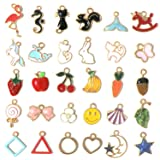 30 Pcs Assorted Enamel Charm Pendant Gold Plated Animals Fruit Moon Star Dainty Dangle Crafting Accessories for Necklace Bracelet Ankle Earring Jewelry DIY Making