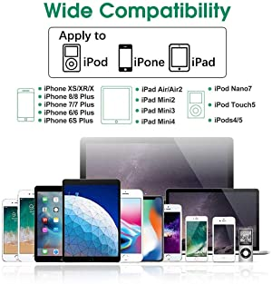 Alimu USB Wall Charger Adapter Plug and Cable Compatible with iPhone 11 / X / 8 Plus / 7 Plus / XS / XR / XS Max /6s/6 Plus/6s Plus/5/5s/5c, iPods and iPads (2 Pack)