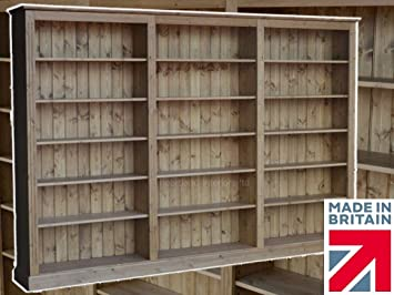 Solid Pine Bookcase, 6ft x 9ft Handcrafted & Waxed Adjustable Library Display Storage Shelving Unit, Bookshelves. Choice of Colours (BBK06)