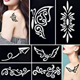 6 Sheets DIY Henna Tattoo Stencil Airbrush Painting Flower Lace Design Women Men Arm Body Art Tool (Tamaño: Stencil - 9.5 * 5.5cm)