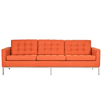 LeisureMod Modern Florence Style Sofa (Orange Wool)