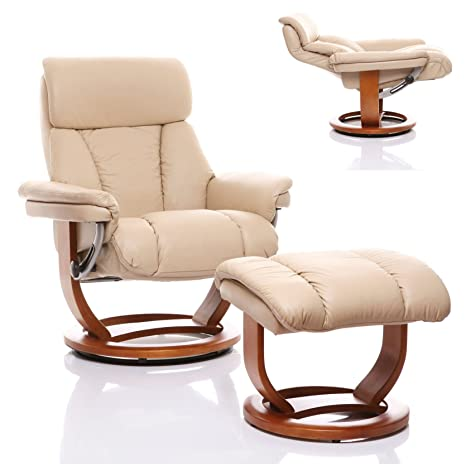 The Mars - Genuine Leather Recliner Swivel Chair & Matching Footstool in Cream with Cherry Base