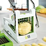 Potato Cutter French fry cutter Best Manual Plastic Professional Potato Slicer With 2 Interchangeable Blades Use for Vegetables Like Cucumber, Carrot & More (Color: White/Green)