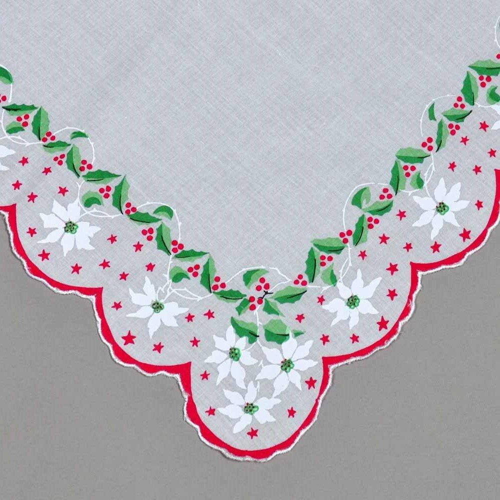 Holiday Christmas Red Green Cotton Ladies Print Handkerchiefs Hankie Hanky- Set of 3 3