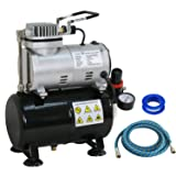 BBBuy Portable Pro 1/5 HP Airbrush Air Compressor Kit with 3L Tank & 6FT Hose Multipurpose for Hobby Paint Cake Nail Tattoo (TC-20T) (Tamaño: TC-20T)