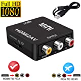 HDMI to RCA,HDMI to AV,JSHUN 1080p 3RCA CVBs Composite Video Audio Converter Adapter Supports PAL/NTSC for Apple TV, PC, Laptop, Xbox, HDTV, DVD-Black (Color: black)