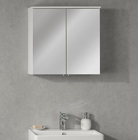 Fackelmann armadietto a specchio Detroit, Bianco Opaco, 60,5x 60x 22,5cm