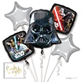 Andaz Press Balloon Bouquet Party Kit with Gold Cards & Gifts Sign, Star Wars Darth Vader Foil Mylar Balloon Decorations, 1-Set (Color: Star Wars Darth Vader)