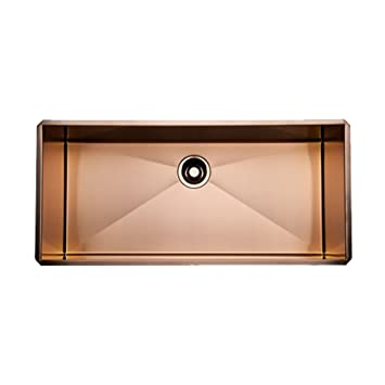 Rohl RSS3616SC 36-Inch Single Basin Kitchen Sink, Stainless Copper