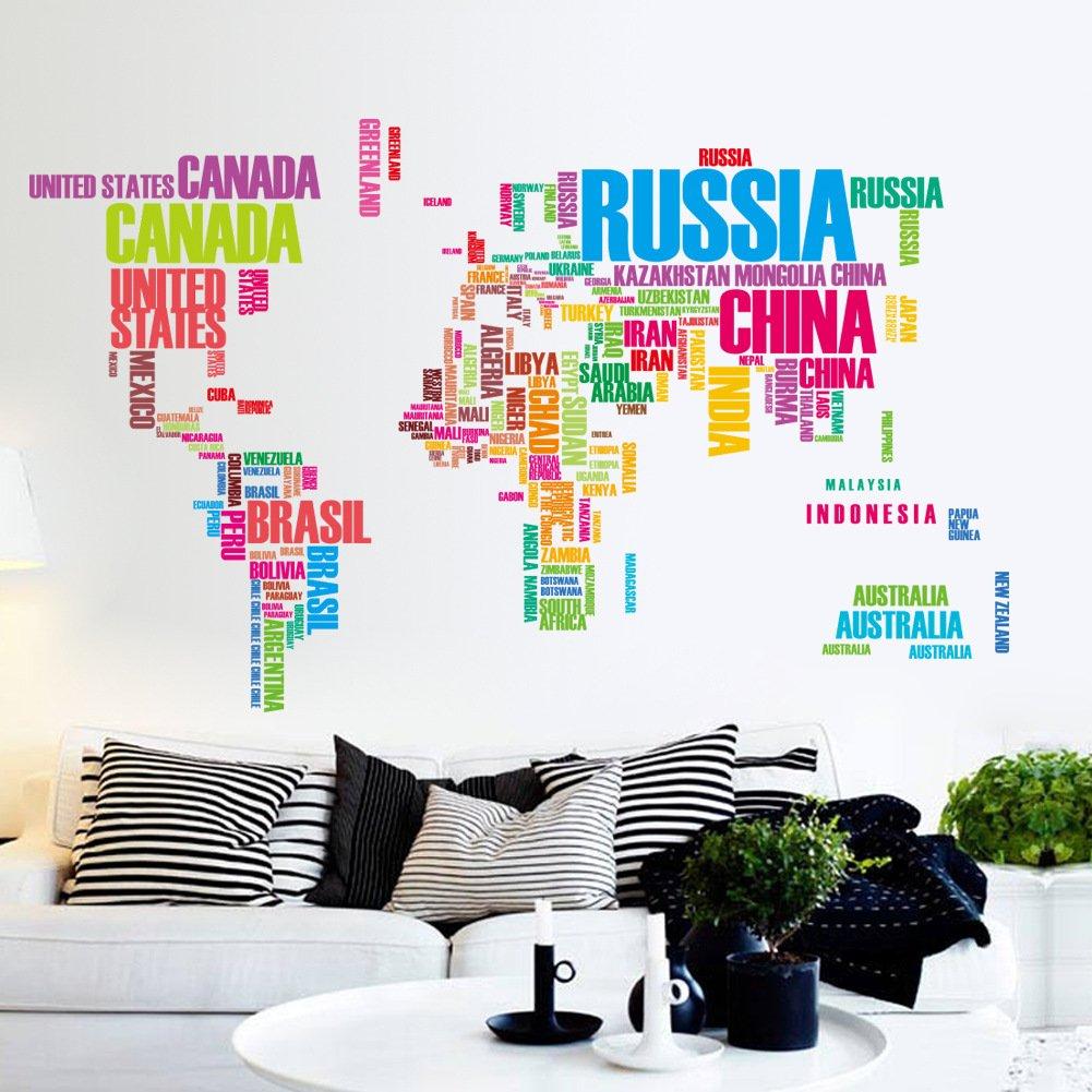 ElecMotive® Die bunte Welt Abnehmbare Wandaufkleber Wandtattoo Wandsticker Aufkleber DIY für Wohnzimmer Schlafzimmer Kinderzimmer günstig bestellen