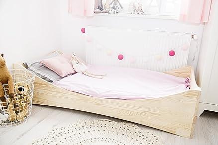 Letto singolo per bambini in legno di pino–Cube 4–, Natural pine wood, 80x160