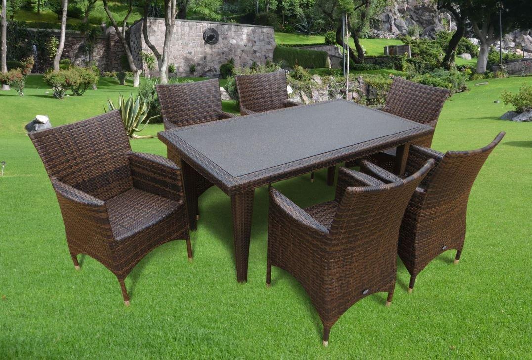 7-teilige Luxus Aluminium Polyrattan Gartenmöbelgruppe