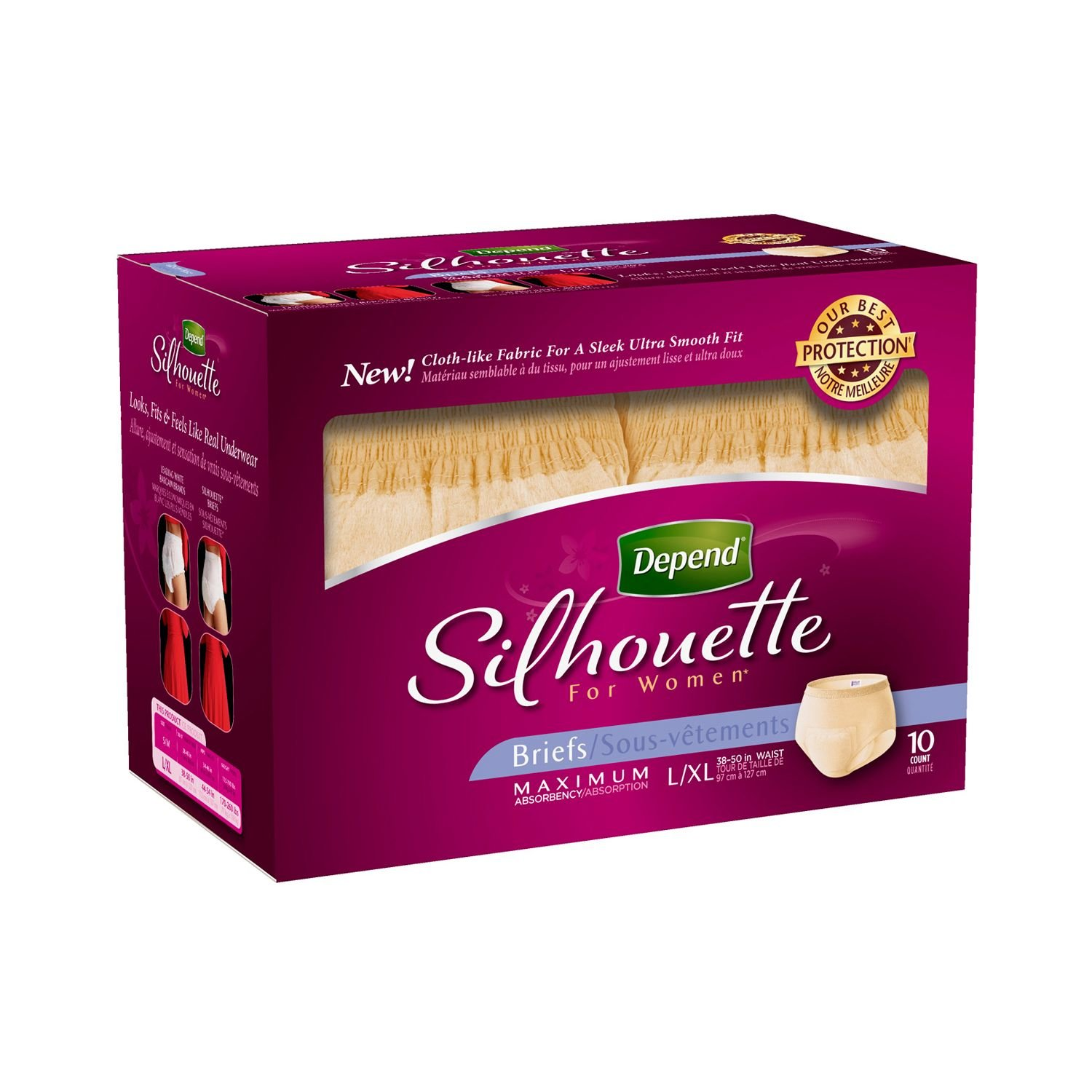 цены Depend Silhouette for Women Briefs - Maximum Absorbency - Large/Extra Large - 80 ct.