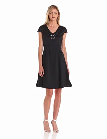 Pink Tartan Women's Cap Sleeve Embellished Dress, Black, Medium
