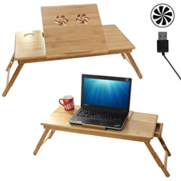 songmics table de lit pliable en bambou pour pc ordinateur portable notebook double plateaux. Black Bedroom Furniture Sets. Home Design Ideas