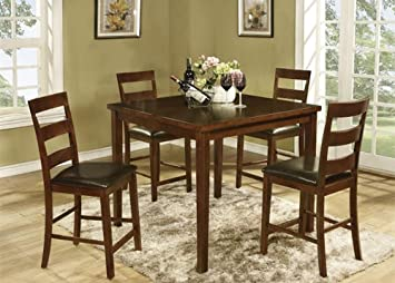 The Room Style 5pcs Solid Wood Counter Height Dining Set, 1 Table with 4 Stool Chairs