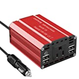 Leadchuang 300W Power Inverter DC 12V to AC 110V Car Inverter with 4 USB Charging Ports Car Adapter with AC Outlets & Durable Cigarette Lighter Plug AC Car Converter for Charging&Running Devices (Tamaño: 300W)