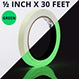 Glow Tape - 1/2 inch x 30ft Vinyl Adhesive Glow-in-The-Dark Tape Roll - Lasts up to 12 Hours (Color: Green, .5