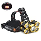 Headlamp,12000 Lumen 5 LED Work Headlight 4 Modes Rechargeable Waterproof Flashlight Lighting Range up to 500M, HeadLights for Running Camping Fishing Outdoor Work (Includes Two 4200mA Batteries) (Color: Gold&Black)