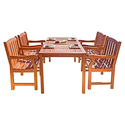 VIFAH V98SET27 Outdoor 5-Piece Wood Dining Set with English Garden Rectangular Dining Table and 4 Armchairs