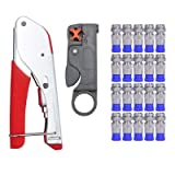 Yangoutool Coaxial Cable Tools Kit,Coax Cable Crimper,Coaxial Compression Tool Set Kit with F RG6 RG59 Connectors Fitting Wire Stripper