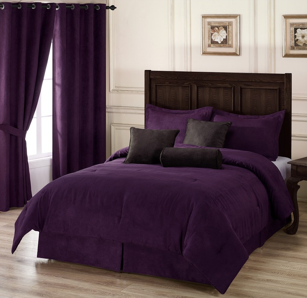 tiChezmoi Collection 7-pieces Purple Microsuede Comforter Set with Crocodile Embossed Cushions, Kingle