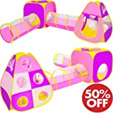 Playz 4pc Children's Playhouse Popup Tents, Tunnels, and Basketball Hoop for Girls, Boys, Babies, Kids and Toddlers with Zipper Storage Case for Indoor & Outdoor Use (Yellow, Pink, Purple)
