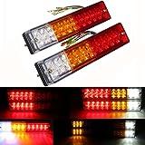 Zxlight 2x 20-LED Car Truck LED Trailer Tail Lights Turn Signal Reverse Brake Light, Stop Rear Flash Light Lamp, DC12V Red-Amber-White, Waterproof IP65 (Pack of 2)