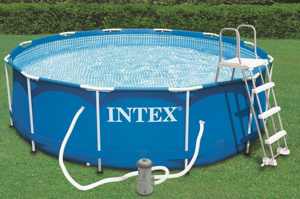 Schwimmbecken Intex Metallrahmen, Stangen-Konstruktion, 3,7 x 1m Höhe