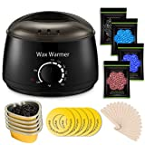 Wax Warmer, Professional Hair Removal Waxing Kit + 4 Scents Hard Wax Beans(3.5oz/Pack) + 20 Wax Applicator Sticks + 5 Protective Collars + 5 Small Bowls (Professional-grade Home Wax Kit) (Color: Wax Warmer, Tamaño: wax warmer)