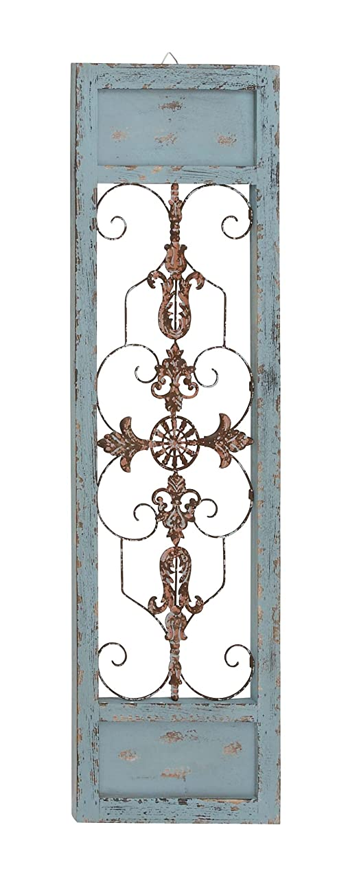 Benzara Rusty and Attractive Wood Metal Wall Panel 0
