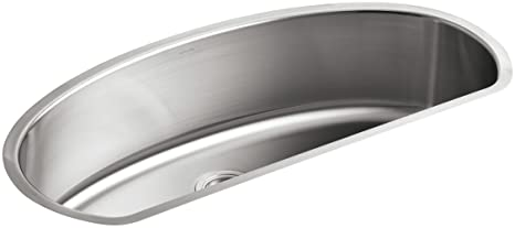 KOHLER K-3185-NA Undertone Large D-Bowl Kitchen Sink, Stainless Steel
