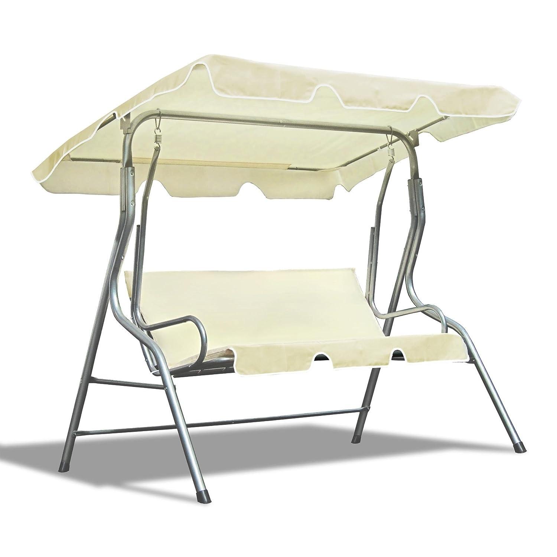JOM Hollywood Schaukel, 3 Sitzer, 110 x 170 x 153 cm, inklusive Dach, silber / crème